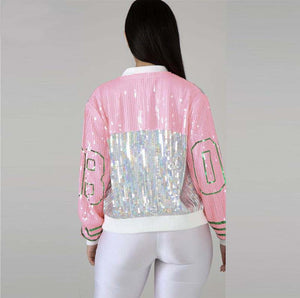 Sequin Long O Neck Pink Green Jacket