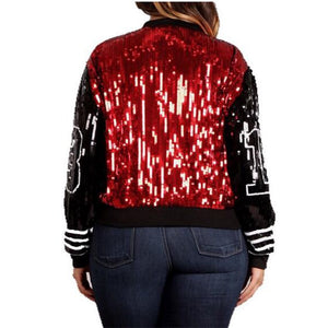 Sequin Long O Neck Red Black Jacket