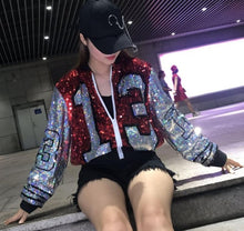 Load image into Gallery viewer, Sequin Long O Neck Red Black Jacket