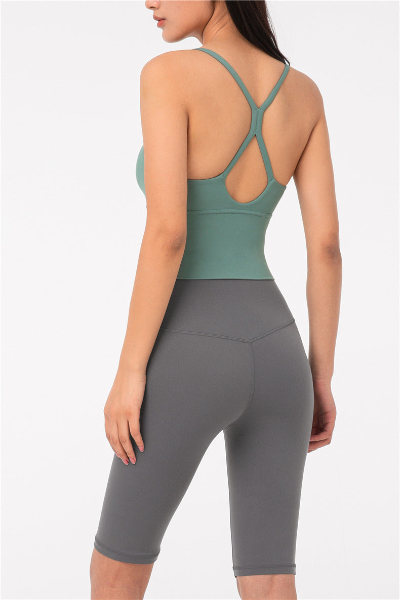 Nara Low Cut Crop Top - Color: Marine Green - Zeebra Activewear