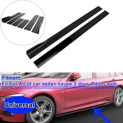 Pair of Side Skirts Extensions Splitters Glossy Black For VW Golf MK5 MK6 MK7 CC Ford Mustang Focus RS ST Generic