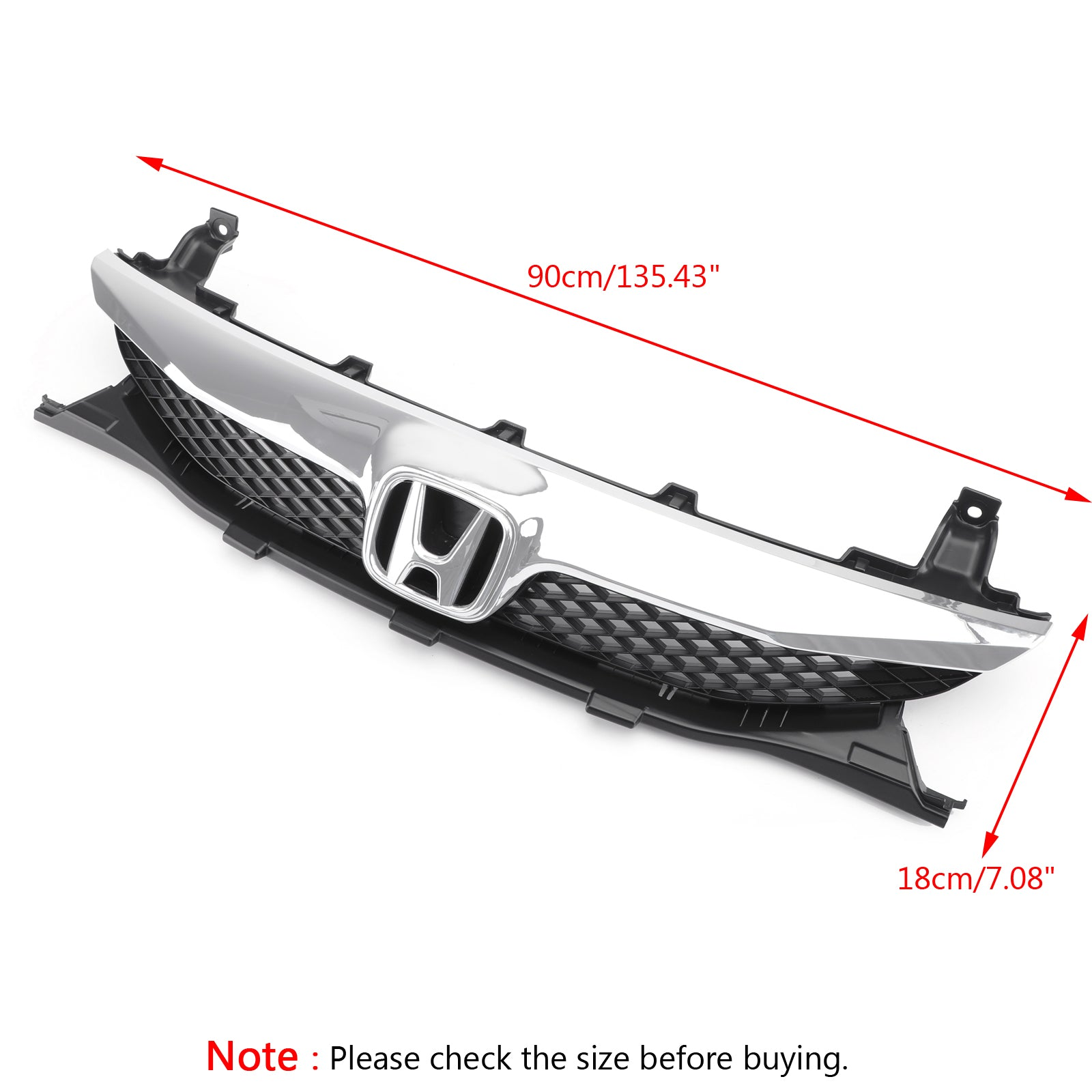 Front Top ABS Grille Grill Replacement For 2009-2011 Honda Civic Sedan 4 Door Generic