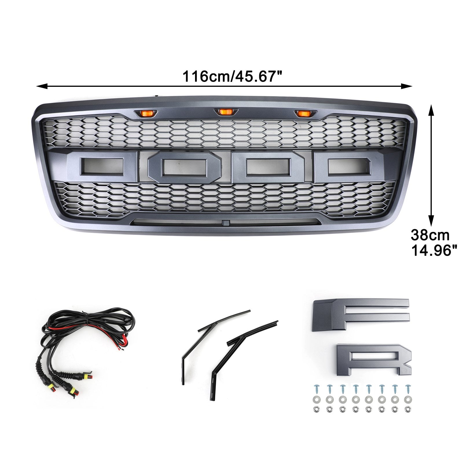 2004-2008 Ford F150 Raptor Style Front Mesh Hood Grill Grille With LED Generic
