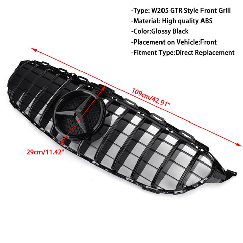 15-18 Benz C class W205 C250 C300 C43 Grill Replacement Black GTR Style Front Bumper Grille Generic