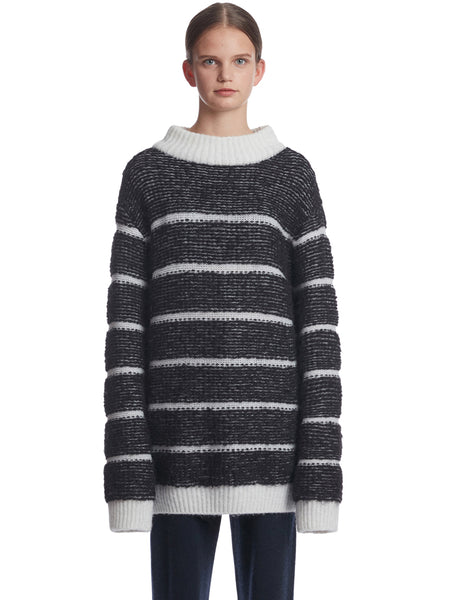 TRUNKPROJECT BOUCLE STRIPE KNIT SWEATER BLACK 1
