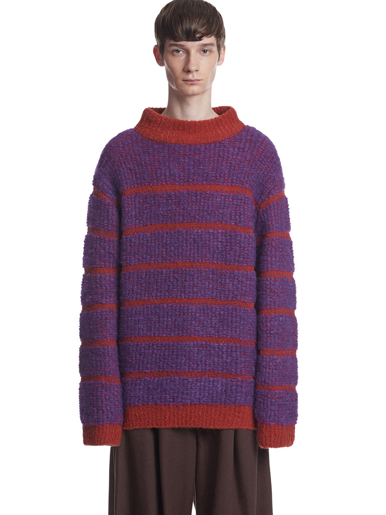 TRUNKPROJECT BOUCLE STRIPE KNIT SWEATER ORANGE 1