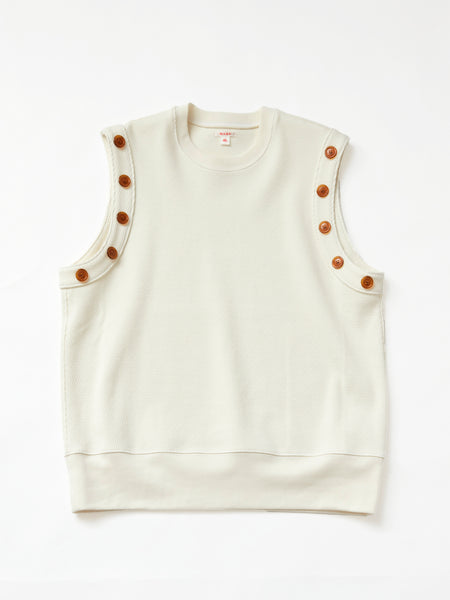 MASU SLEEVELESS SWEAT SHIRTS WHITE 1