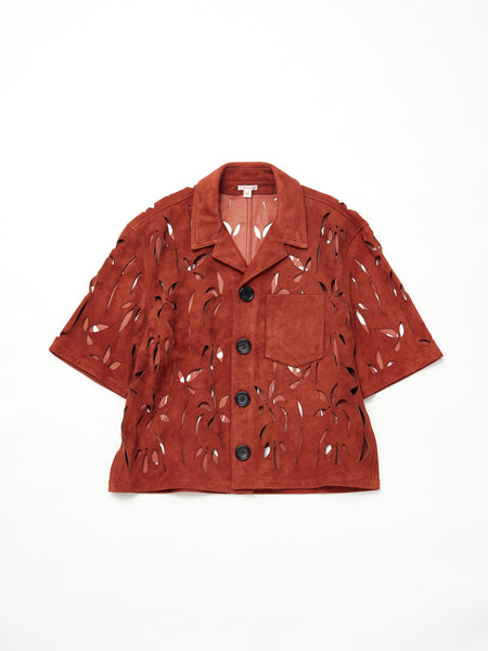 MASU FLOWER CUT LETHER SHIRTS 1