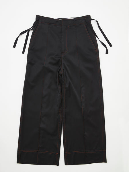 RIBBON WIDE TROUSERS BLK_1