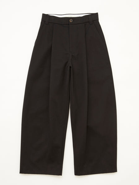 PEACHED COTTON TWILL VOLUME PLEAT PANT BLK 1