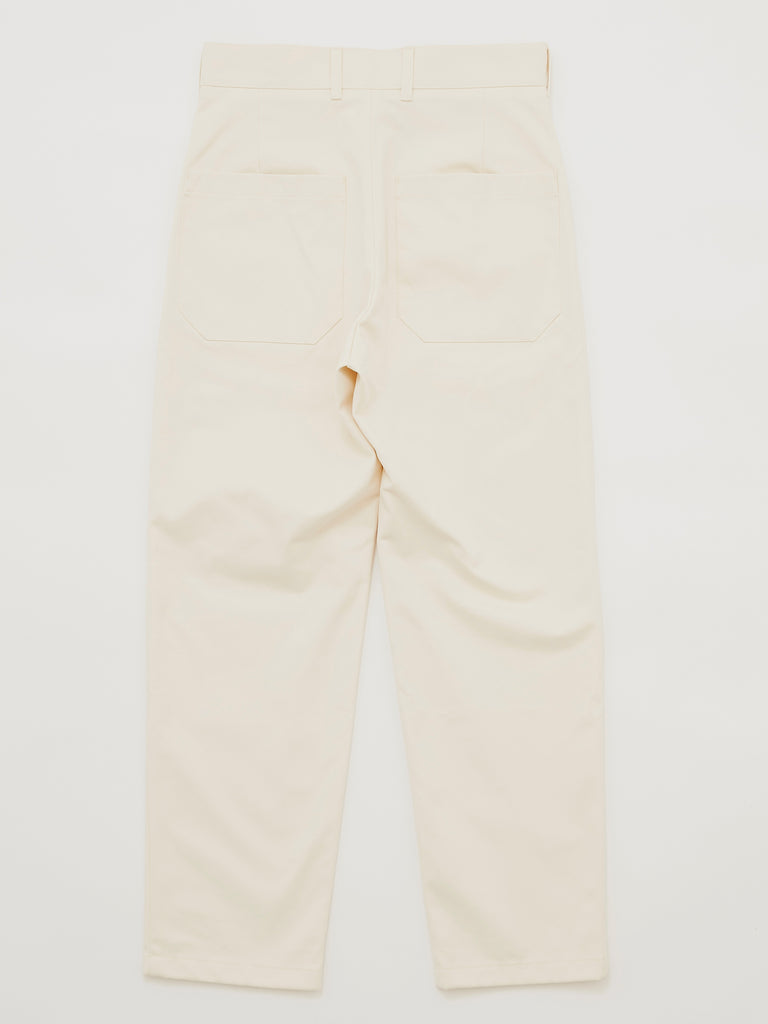PEACHED COTTON TWILL FLAT FRONT TAPERED PANT CRM 2