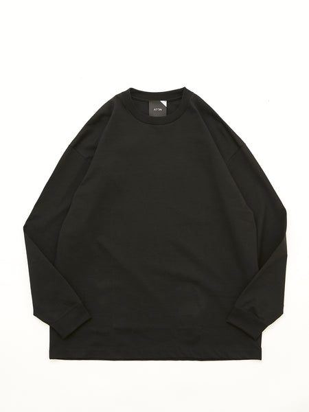 ATON SUVIN AIR SPINNING OVERSIZED LONG SLEEVE T-SHIRT BLK 1