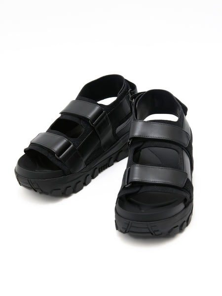 VEIN COW LEATHER HIGH RISE SANDAL 1