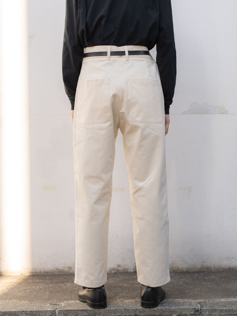 PEACHED COTTON TWILL FLAT FRONT TAPERED PANT CRM 9
