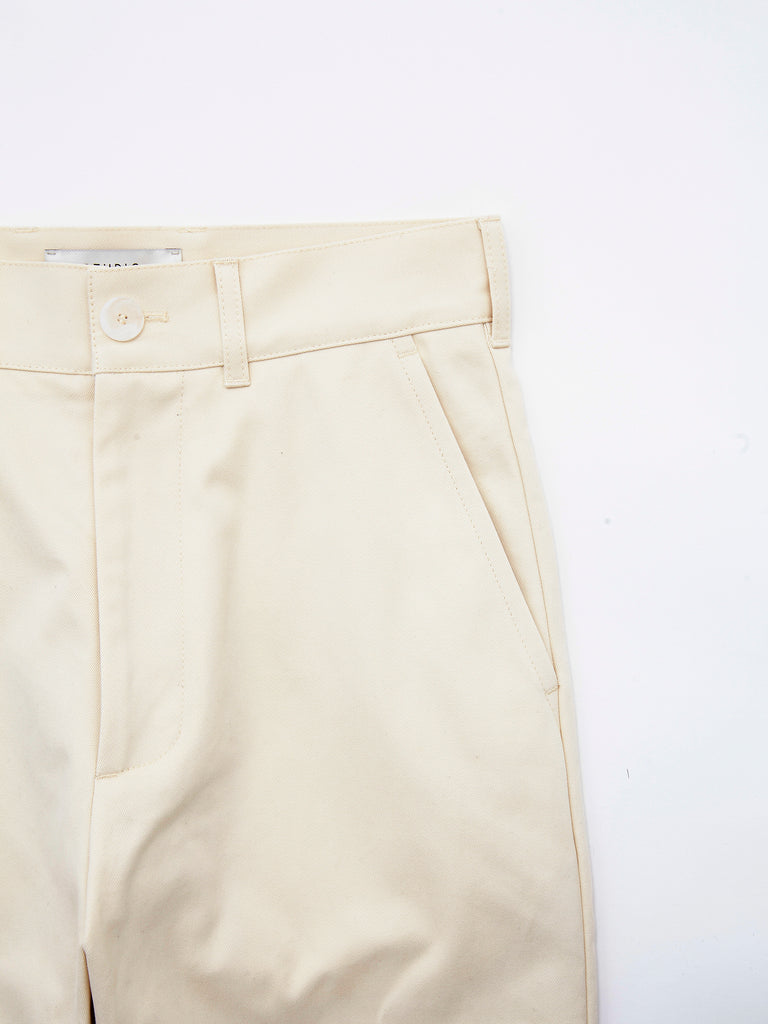 PEACHED COTTON TWILL FLAT FRONT TAPERED PANT CRM 4