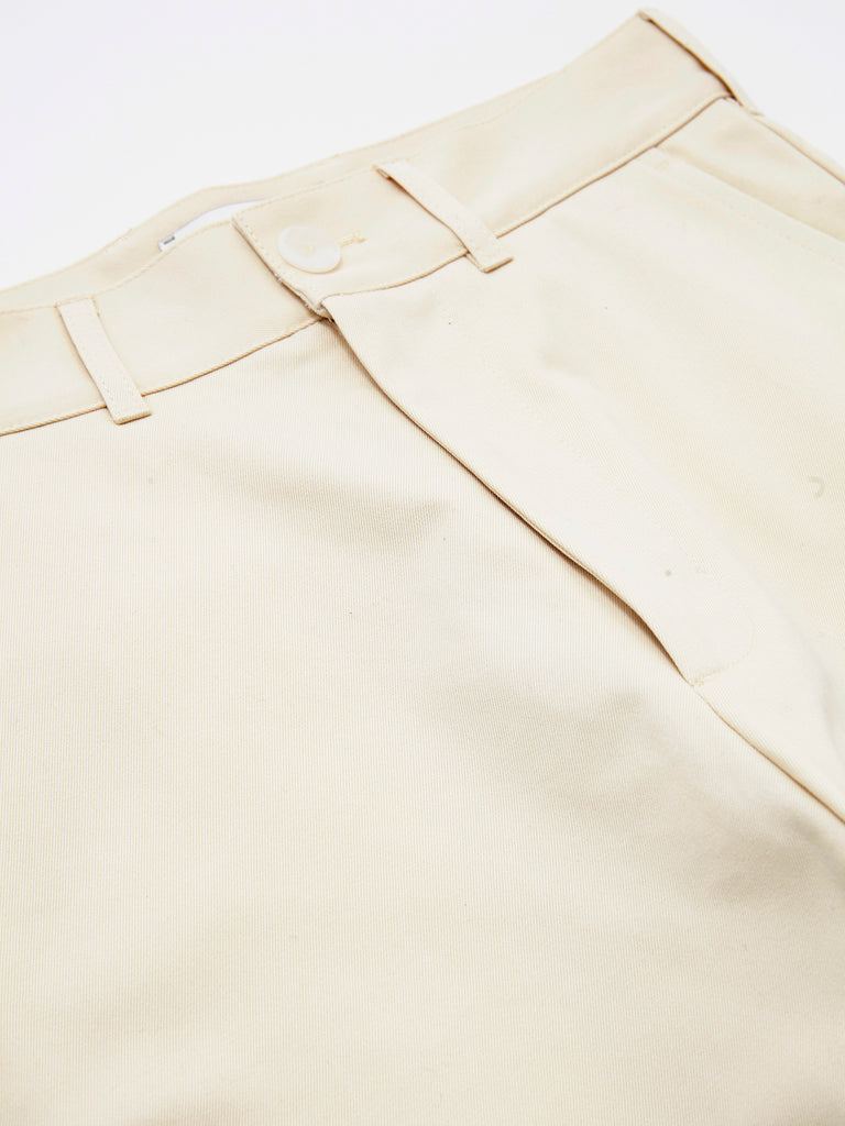 PEACHED COTTON TWILL FLAT FRONT TAPERED PANT CRM 6