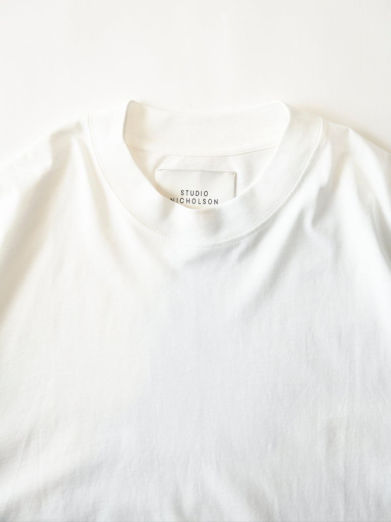 STUDIO NICHOLSON LW COMPACT COTTON BRANDED SHORT SLEEVE MOCK NECK T-SHIRT WHT 3