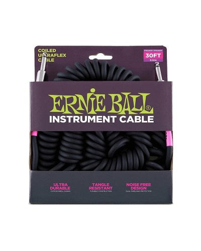 Ernie Ball 6044 Ultraflex 30ft-9m Coiled Straight to Straight Instrument Cable