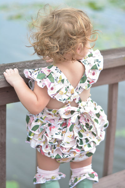 Pink Floral Ruffle Romper