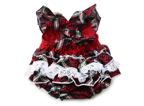 Plaid Christmas Ruffle Romper