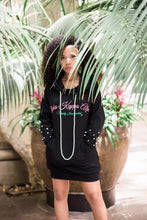Load image into Gallery viewer, Black Pearl Studded Hoodie Dress