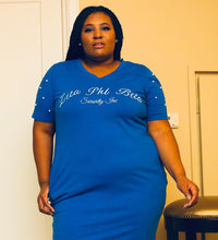 Load image into Gallery viewer, ΖΦΒ Blue Pearl Studded Tee Shirt Dress
