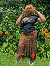 Load image into Gallery viewer, Leopard Fringe Skirt