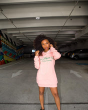 Load image into Gallery viewer, Pink Pearl Studded Hoodie Dress