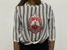 Load image into Gallery viewer, ΔΣΘ Stripped Shield Shirt