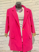 Load image into Gallery viewer, Andree By Unit Blazer Fuchsia Blazer w/ Leopard Dot Lining