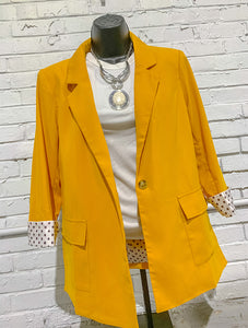 Andree By Unit Blazer Gold Blazer w/ Polka Dot Lining