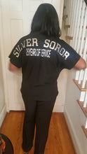 Load image into Gallery viewer, AKA Black Silver Soror Tee Shirt