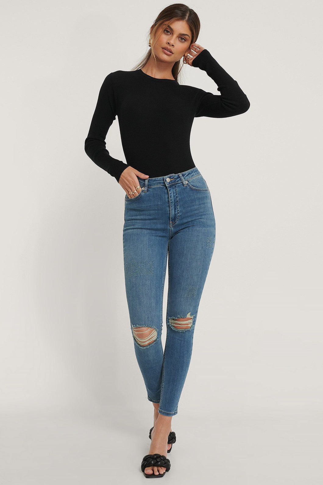 Jeans NAKD Skinny high waist destroyed 1660-000121 Mid Blue