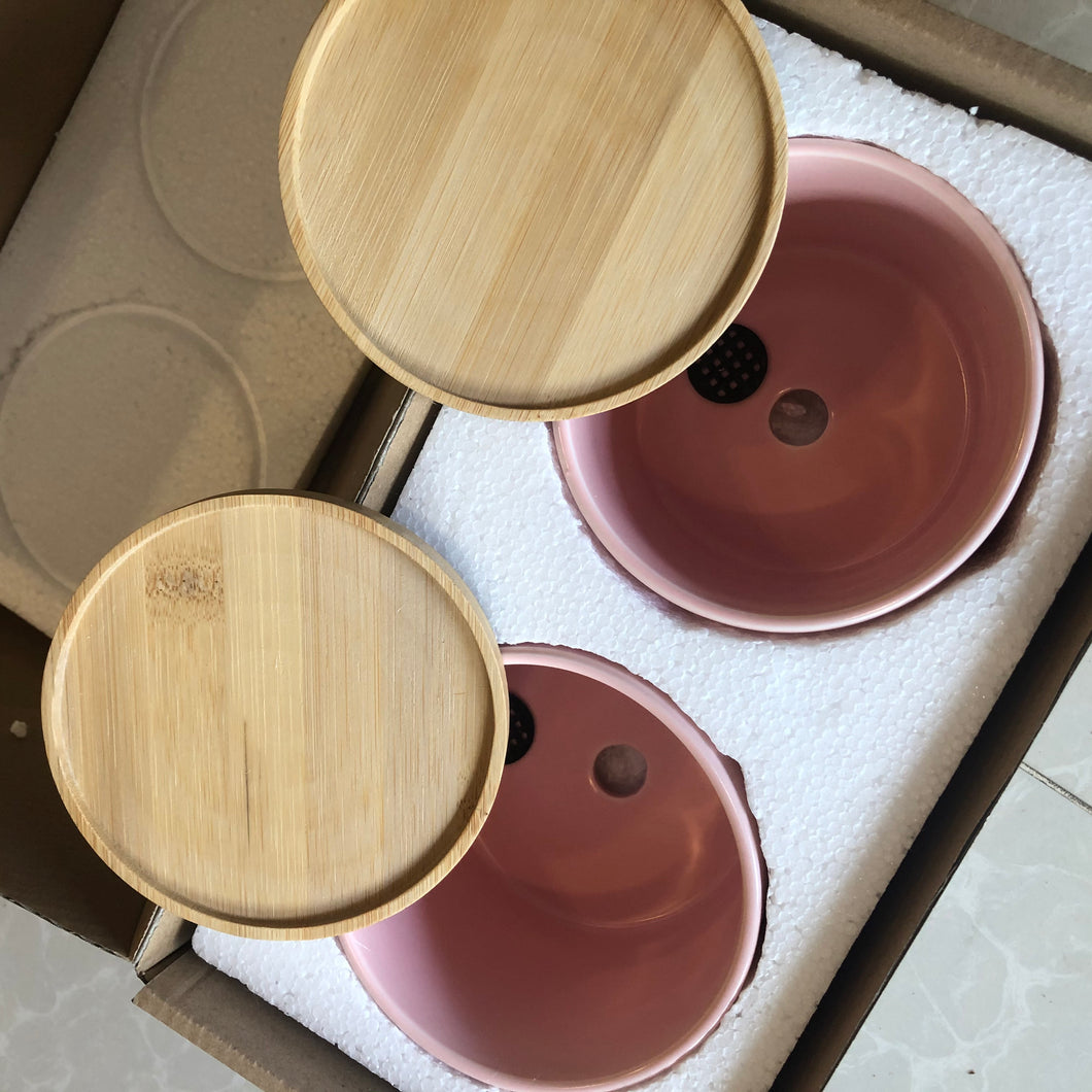 "4"" ceramic pot with bamboo catch plate - 10pcs wholesale"