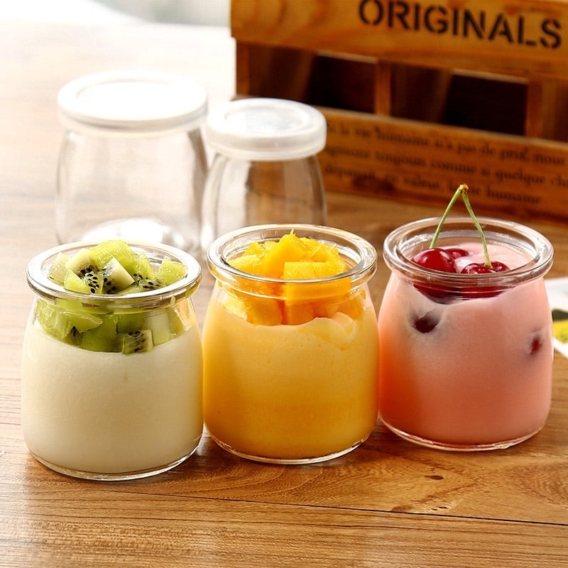 Yogurt cup - glass with lid