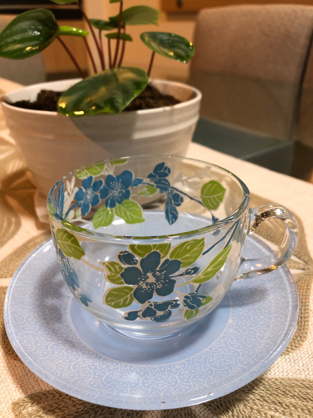 Blue cup and saucer set