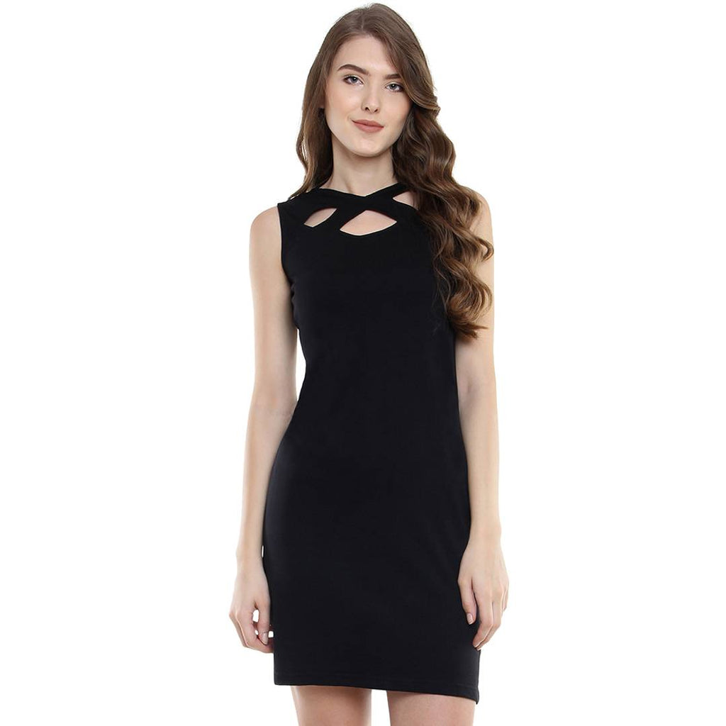 Black Solid Bodycon Mini Dress - Zoopershop.com
