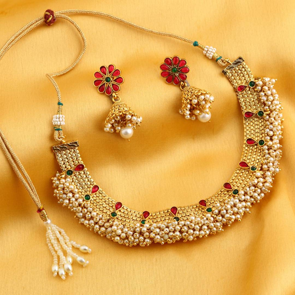 Dazzling Reversable Gold Plated Necklace Set with Floral earrings