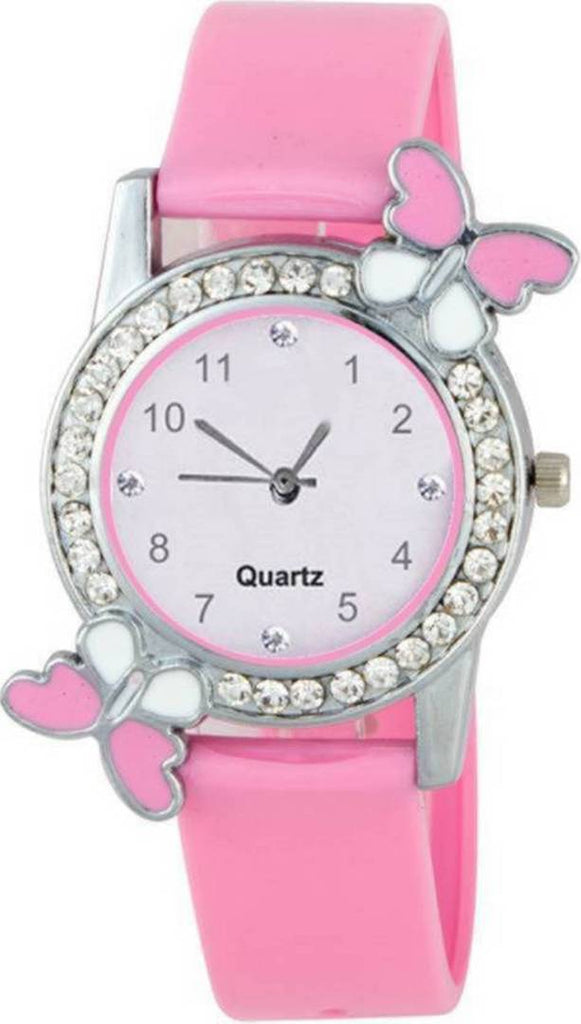 Stylish Pink Synthetic Leather Analog Watch