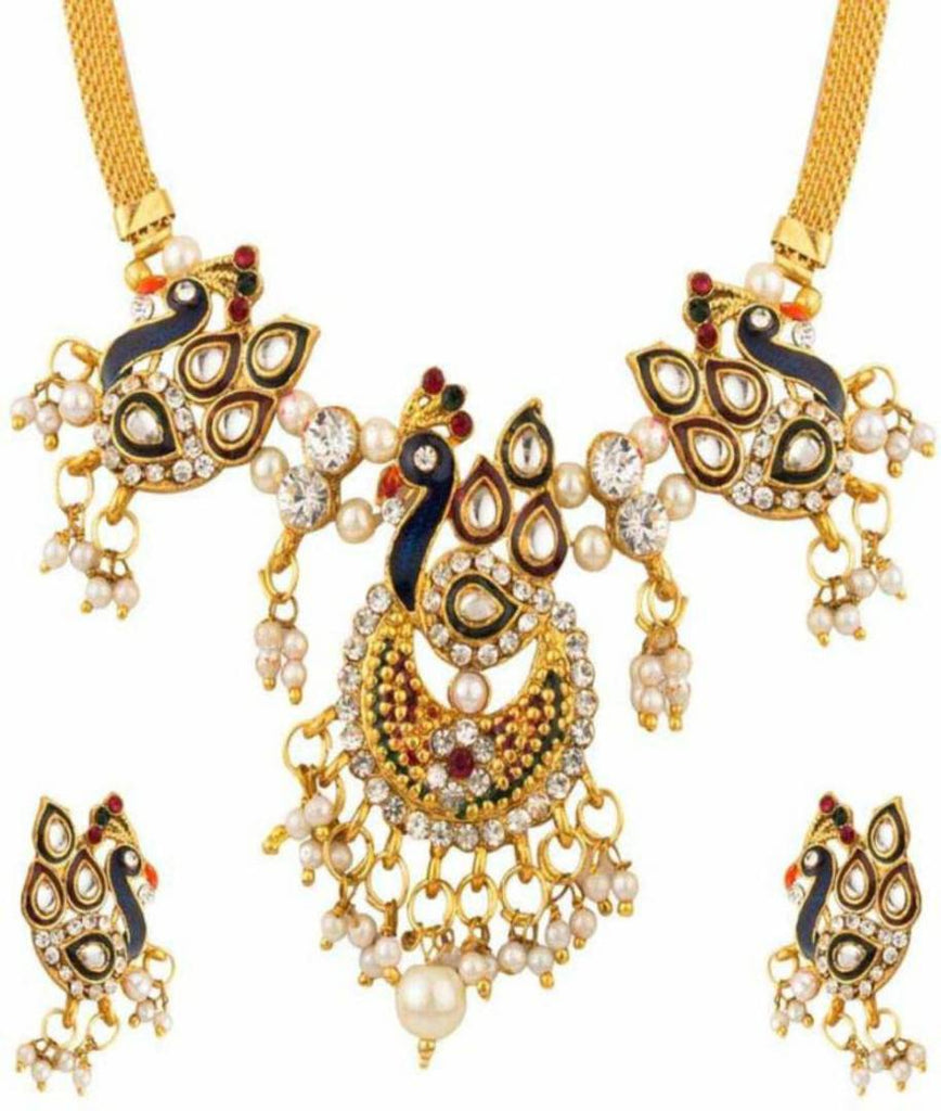 Exclusive meenakari peacock inspired designer necklace set for woman
