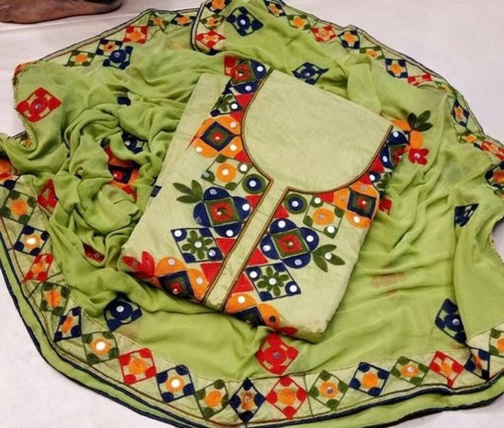 Aari Work Chanderi Cotton Dress Material