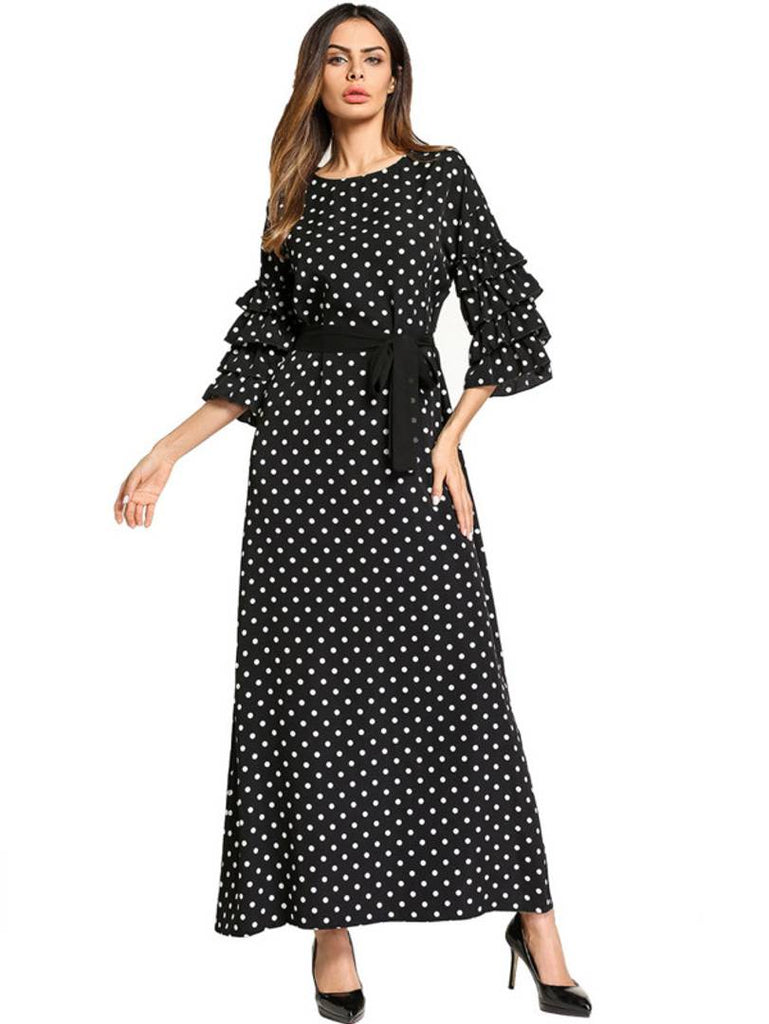 Ruffle Sleeve Tie Waist Polka Dot Print Long Maxi Dress - Zoopershop.com