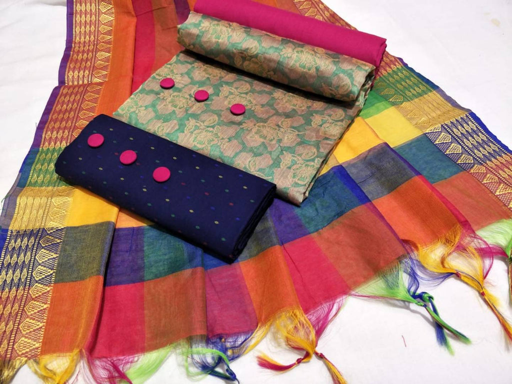 Multicoloured Jacquard Cotton Dress Material With Dupatta