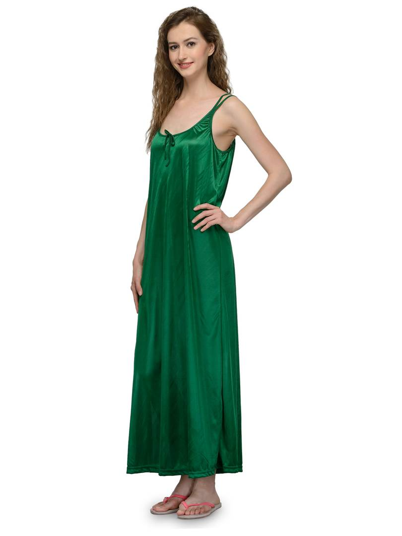 Green Satin Solid Long Nighty
