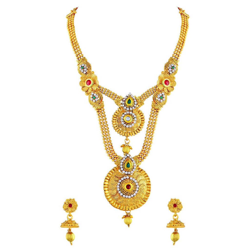 Beguiling Gold Plated Opera Style Necklace Set