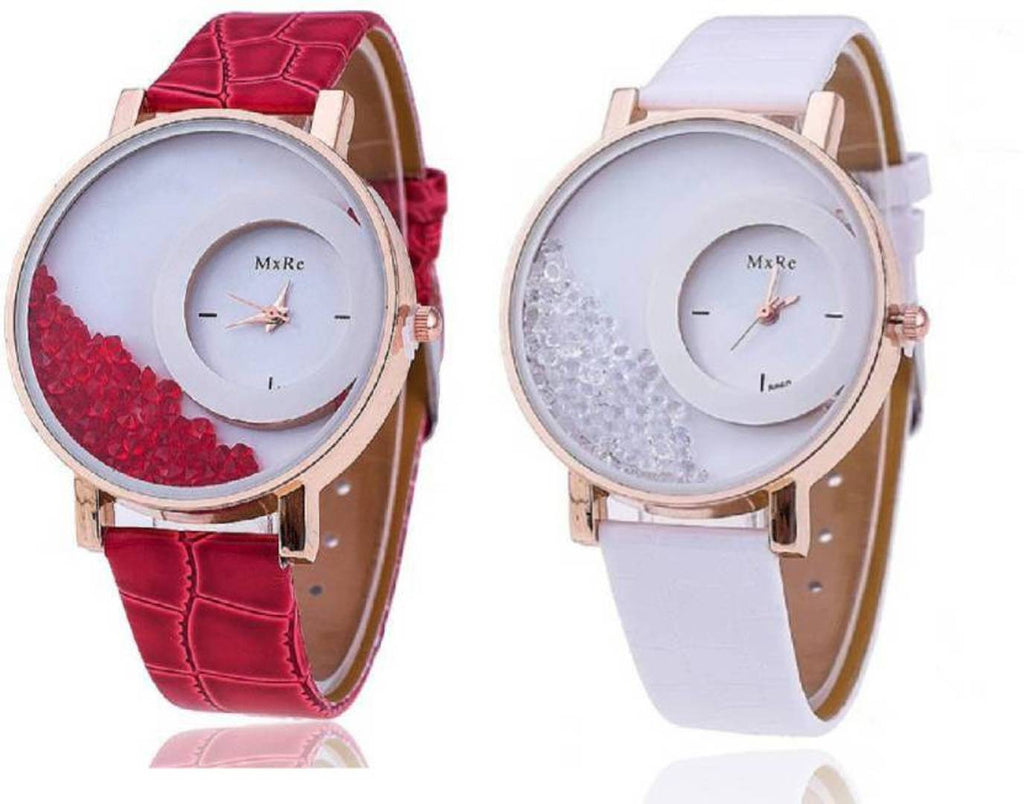 Multicoloured Synthetic Leather Watches For Women