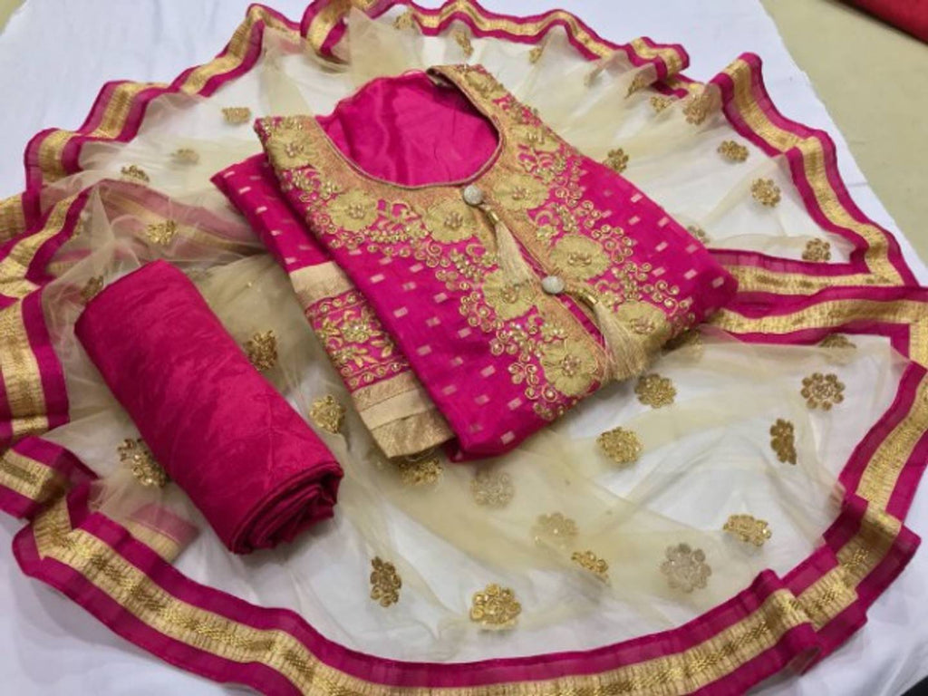 Top chandari silk work Dress Material