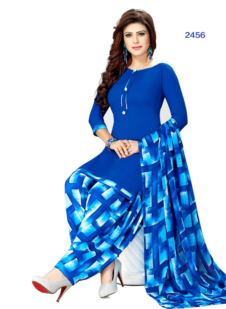 Stylish Blue Printed Crepe Dress Material with Dupatta