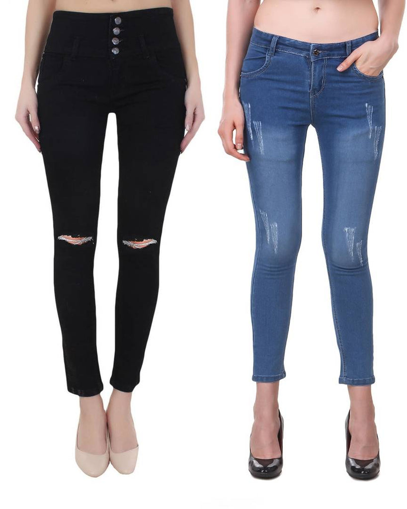 Combo Of 2 Denim Skinny Fit Jeans - Zoopershop.com