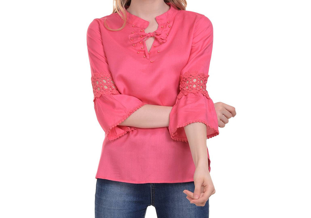 Pink Cotton Solid  Blouse Top - Zoopershop.com